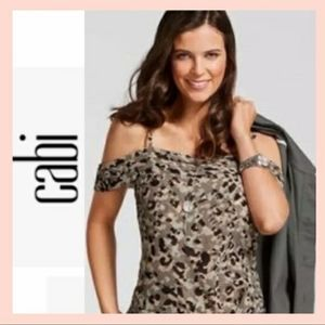 CAbi Size M Camo Tiered Top Cold Shoulder Layered